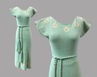 LAYAWAY PAYMENT 1950s Mint Green Knit Floral Dress