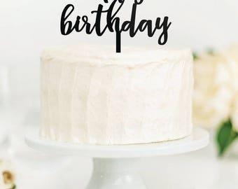 Happy Birthday cake topper, laser cut cake topper, birthday decor, gold, silver, cake topper, wedding cake decorations, birthday cake decor