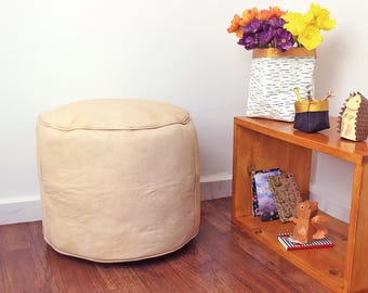 Beige Leather Moroccan Pouf, Ottoman, Handmade Leather Pouf