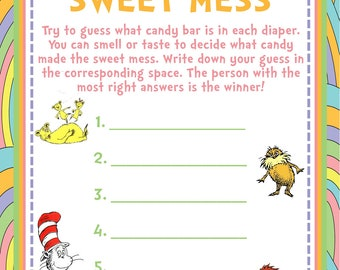 Guess the Sweet Smell Baby Shower Game - Dr. Seuss - Oh the Places You'll Go