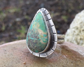 Turquoise Ring, Size 6 1/2 , Statement Ring, December Birthstone, Rustic, Boho, Gypsy, Earthy, Natural