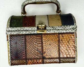 Vintage 1950s Patchwork Snakeskin Handbag |Snake Box Purse 50s 60s Pocket Bag | 1960s Mad Men Madmen Beatnik | Classic Chic Hollywood
