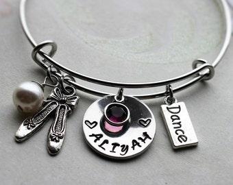 dance bracelet, dance name bracelet, personalized dance bracelet, dance theme gift, dance charm bracelet, dance bangle, dance jewelry