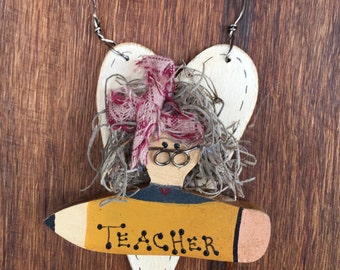 Primitive Teacher Ornament