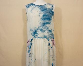 Dress short sleeveless Fluid Blue Indigo, printed, vegetable dye, contemporary boho, Piece Unique, T38 / M, HAPE