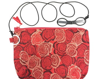 HiyaHiya Accessory Case Kit-SlipNSnip Scissors Black Needlepoint Blade Folding Scissors tied to Red Brocade Knitters Notion Bag, 2 Piece Kit