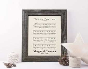 First dance song, 2nd anniversary gift for men, cotton wedding  anniversary gift for her, 2 years together, music notes sheet - CA0114