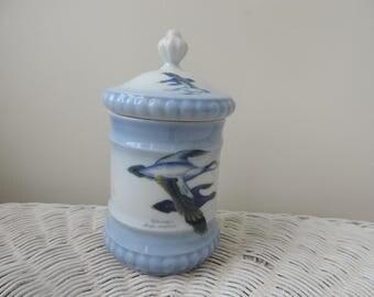 Bareuther Waldassen Waterfowl, Jar with Lid from Bavaria Germany Vintage
