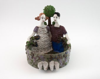 "Clay sculpture / Handmade clay art / Pottery bowl /  Artwork ""Couple"" / Wedding gift / Unique ceramic art sculpture / Home decoration"