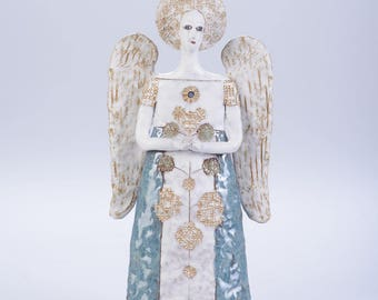 Clay angel sculpture, clay sculpture, clay statue, handmade sculpture, handemade angel