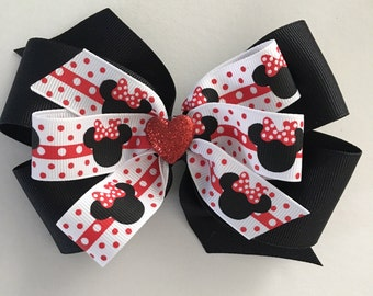 Minnie Mouse Hair Bow Minnie Bow Red and Black Minnie Mouse Bow Red White and Black Minnie Bow Bow with Hearts Black and Red Bow Disney Bow