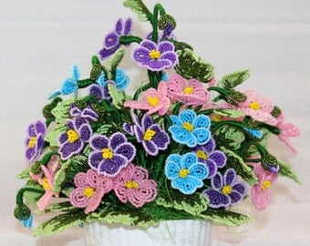Beads flowers from beaded pansy pansies bouquet in an amusing ceramic pot /  flowers as a gift to mom and grandmother for the birthday