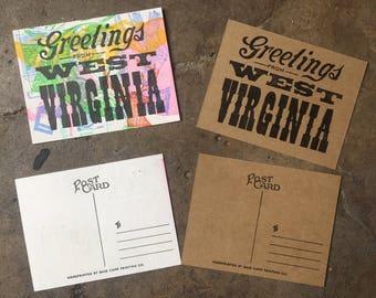 Greetings From West Virginia Letterpress Post Card