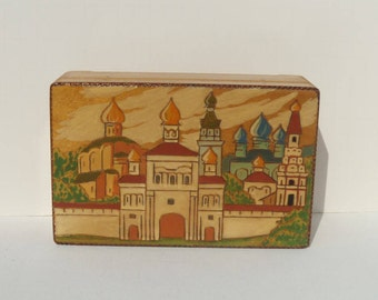 Pyrography Wooden Russian Box, Painted Eastern European Box