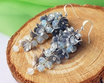 Cluster Earrings Moonstone Long Silver Earrings silver shiny flowers polymer clay Earrings Christmas gift for her Holiday earrings Bright