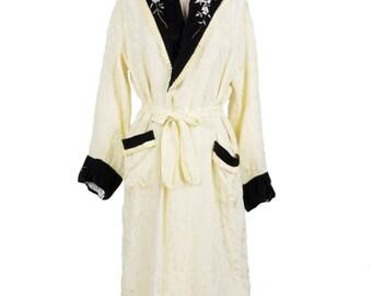 Vintage 1930s/1940s yellow silk robe - 30s/40s lemon housecoat w/cream floral embroidery - Thirties/Forties jacket w/ black velvet lapels