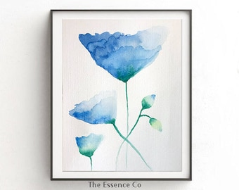 Flower Watercolor Painting, Blue Flowers  Buds Art, Original Watercolor painting, watercolor Flowers, Flower Painting, Home Decor Art