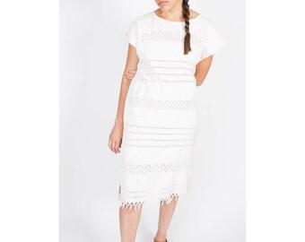 Cream Oaxaca Dress / 1980s / Minimalist Summer Dress