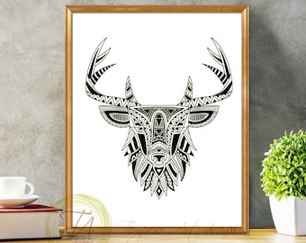 Black and White Prints - Black and White Art - Deer Black and White Wall Art - Modern Abstract Art- Deer Black White Home Decor- Tribal Deer