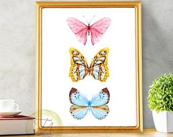 Printable butterfly wall art Printable butterfly Butterfly nursery print Butterfly print Watercolor butterfly Printable butterflies decor