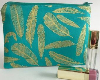 Zipper Pouch, Pencil Case, Make Up, Gift, Teacher Gift, Bridesmaid gift, Nappy Bag, Bag Organiser,Cosmetic bag, Feather pouch,Metallic pouch