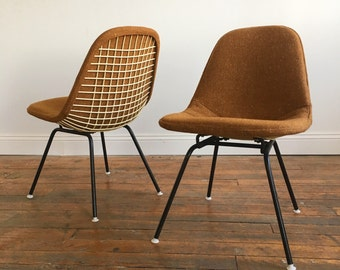 Herman Miller Eames Wire Chairs with Alexander Girard Covers - RARE