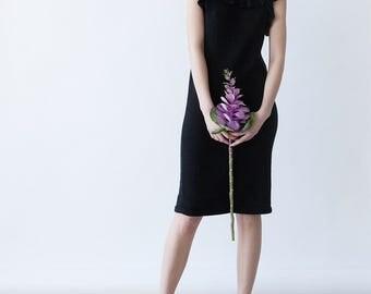 BLACK KNIT DRESS - long ruffled black dress