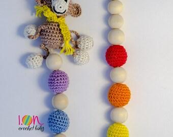 Rainbow Nursing Necklace with monkey