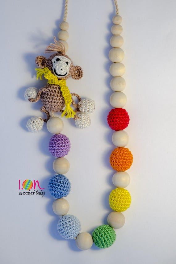 Rainbow Nursing Necklace with monkey