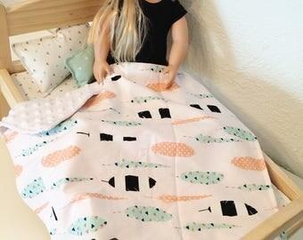"Doll Bedding Set, Bedding for Dolls, Doll Blanket, Doll Pillows, 18"" Doll Bedding Set, AG Doll Bedding,"