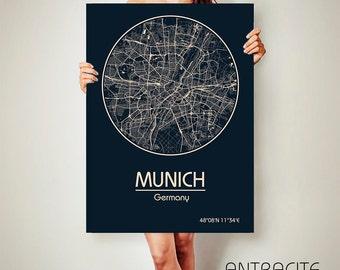 MUNICH Germany CANVAS Map Munich Germany Poster City Map Munich Germany Art Print Munich Germany
