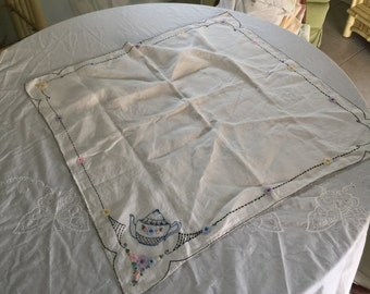 """Vintage embroidered linen table square 30"""", free shipping!"""