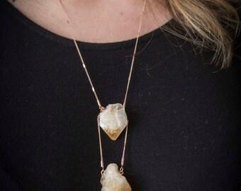 November Birthstone - Raw Citrine - Boho Citrine Jewelry - Stone Necklace - Rose Gold Necklace - Raw Citrine Jewelry - Free Shipping