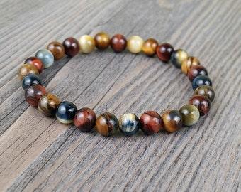 Red tiger eye, Yellow-blue tiger eye and brown tiger eye gemstone 6 or 8 mm bracelet