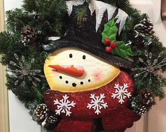 Snowman Wreath | Snowman Face | Snowman Decor | Christmas Wreath | Christmas Door Wreath
