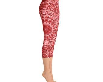 Red Capri Leggings - Mandala Art Yoga Pants, Pattern Yoga Leggings, Mid Rise Printed Leggings