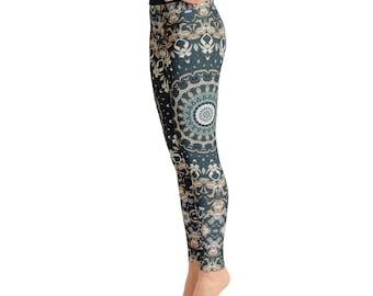 Womens Leggings - Nature Leggings, Brown and Green Mandala Yoga Leggings, Yoga Pants, Yoga Tights