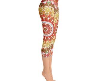 Capris - Leggings for Summer, Fun Print Yoga Pants Colorful, Workout Leggings With Designs, Printed Leggings for Women