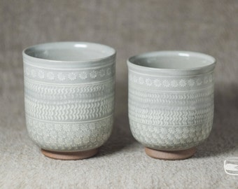 Couple of Meoto Yunomi tea cups for Japanese tea made in Mishima technique - handmade *0630