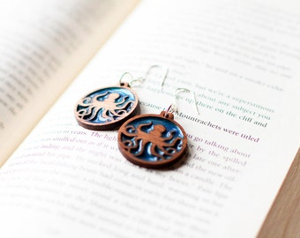 Modern Octopus Laser Cut Walnut Wood and Translucent Metallic Mineral Pigment Resin Earrings... Custom Available