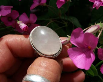 Rose Quartz. Ley.piedras beautiful silver ring, naturales.bohemio.elegante.boho.