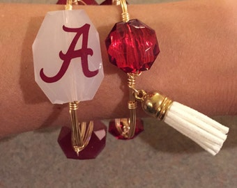 Two (2) Wire Bangles, Flat Rate Shipping, Gold Bangles, Silver Bangles, Beaded Bangles, University of Alabama, Alabama, Football, Handmade