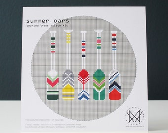 Summer Oars - Modern Counted Cross Stitch Kit - Easy DIY Cross Stitch Kit