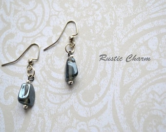 Gray Glass Dangle Fish Hook Earrings with Silver Tone Accents