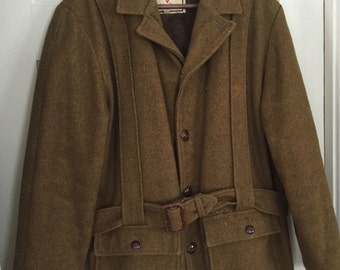 Vintage Brown Wool Hunting Jacket Made by Gordon and Ferguson of St. Paul, Minnesota