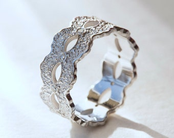 White Gold Wedding Band, White Gold Ring, White Gold Engagement Ring, Gold Wedding Band Women, Diamond Wedding Band, Wedding Bands,Lace Ring
