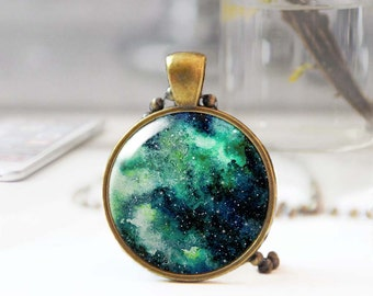 Nebula necklace, Galaxy necklace, Gypsy pendant necklace, Cosmic jewelry, Long boho necklace, Bohemian jewelry for women, 5097-6
