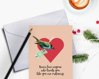 Valentine Printables, Valentines Day Card, Valentine Card Printable, Oscar Wilde Quotes, Valentine Card Her, Card for Girlfriend, Love Birds