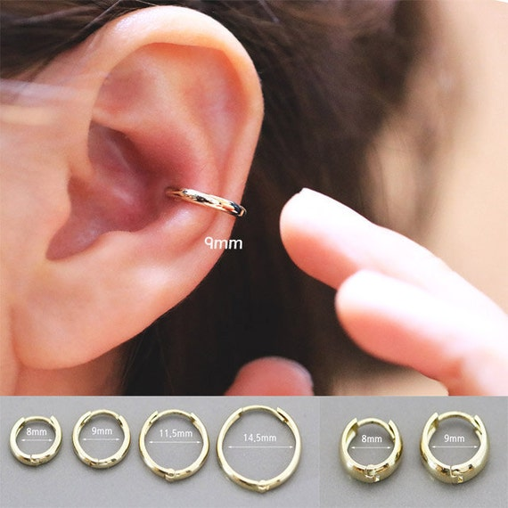 14k gold cartilage hoop earring earring cartilage hoop helix for Helix piercing jewelry canada