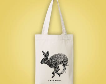 Sac cabas en toile recyclée (recycled woven tote bag) lièvre VAGABOND vagrant itinerant restless jackrabbit animal totem illustration